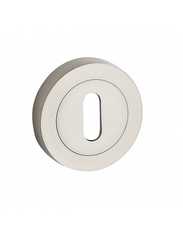 PAIR OF ROUND ROSETTES Ø 50mm KEY HOLE - SATIN NICKEL