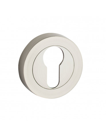 PAIR OF ROUND ROSETTES Ø 50mm CYLINDER HOLE - SATIN NICKEL