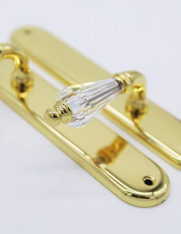 PAIR OF DOOR HANDLES ON ROUND PLATE