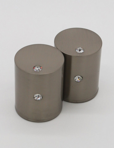 CYLINDRICAL CABINET KNOB 2 CRYSTALS