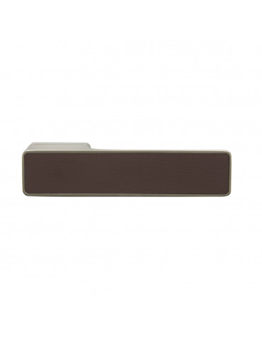 MAXIMUM PAIR OF HANDLES WITH DARK BROWN LEATHER DECORATIVE INSERT